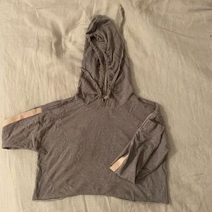 Forever 21 Cropped Gray Sweatshirt w/ Pink Stripes